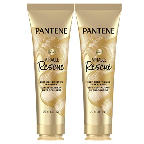 Pantene Hair Mask, Miracle Rescue Deep Conditioning Treatment, Hydrate Dry Hair, Twin Pack, 8 Oz Each
