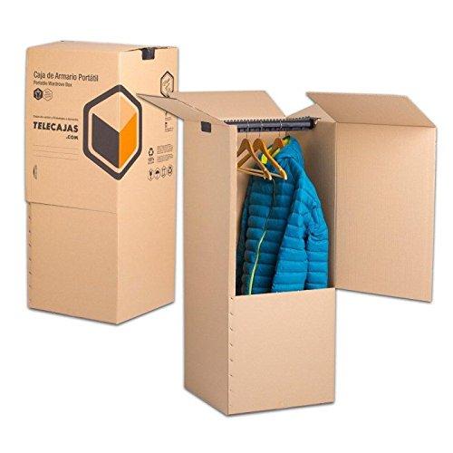 TeleCajas® | (2x) Cajas Armario Mudanza de Cartón | 50x50x100 cms - Doble Pared Reforzada | Incluye BARRA PERCHERO | Pack de 2 unidades