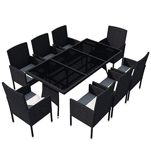 XUHAHAZNSH Set di mobili da Pranzo da Giardino Moderni in Rattan Set da Salotto Nero in Resina Intrecciata 9 Pezzi Tavoli da Esterno
