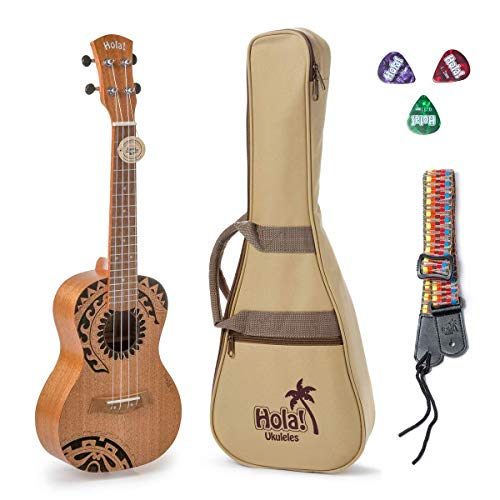 Hola! Music HM-124TT+ Laser Engraved Mahogany Concert Ukulele Bundle with Aquila Strings, Padded Gig Bag, Strap and Picks - Tribal Tattoo