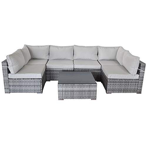 SUNVIVI OUTDOOR 7 Piece Patio Furniture Sets, All Weather Grey PE Wicker Furniture Set, Patio Sectional Conversation Sofa Set with Coffee Table, Removable Grey Cushions