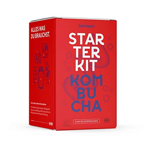 fairment Starterkit Kombucha - das lebendige Kombucha Getränk einfach selbermachen - Starter Set mit Bio Kombucha Pilz (SCOBY) , Glas, Zutaten, Zubehör und Rezepten - Kombucha Tee selbst machen