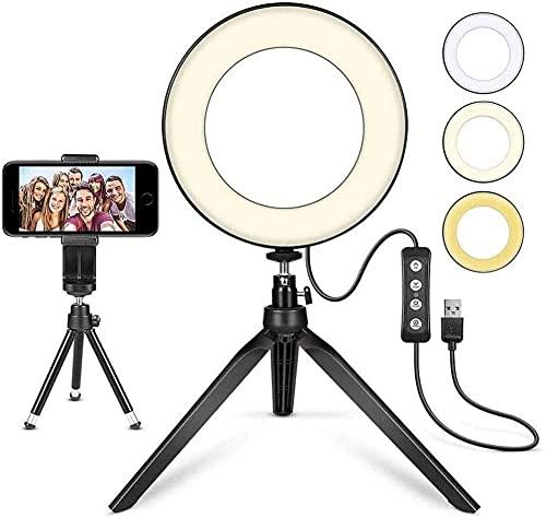 Luz de Anillo LED 6 con trípode Luz de Anillo de Maquillaje de Escritorio de Soporte Regulable con 3 Modos de iluminación y 10 Niveles de Brillo para la transmisión en Vivo de Youtube Video Vídeos v.