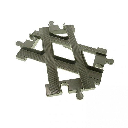 1 x Lego Duplo Schiene Weiche Kreuzung alt-dunkel grau Eisenbahn Kreuz Gabelung 6376
