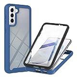 Funda para Samsung Galaxy A12, [protector de pantalla integrado] protección híbrida de cuerpo completo a prueba de golpes, carcasa rígida transparente y suave de goma TPU para Samsung Galaxy A12 azul