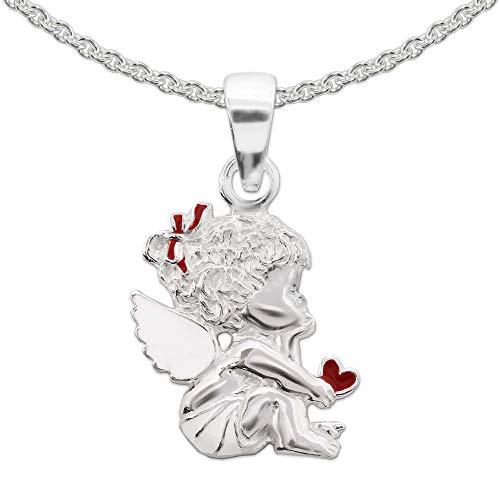 Clever Schmuck Set di ciondolo a forma di angelo per bambini, 15 mm, con cuore, attendibile, in parte rosso e bianco, con catena a pisello da 42 cm, in argento Sterling 925, con custodia bianca