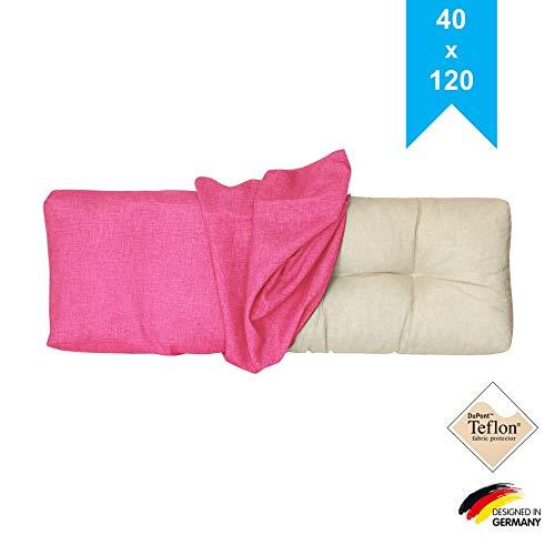 LILENO HOME Palettenkissen Bezug Pink - Ersatzbezug für Rückenkissen 120 x 40 x 20 cm - Polster Bezug für Europaletten - Palettenkissen Outdoor Hülle für Palettenmöbel