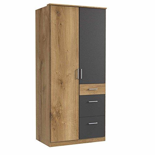 lifestyle4living Kleiderschrank, Planken-Eiche Dekor, Graphit-Grau, 90cm   Drehtürenschrank mit 2 Türen, 3 Schubladen, 1 Kleiderstange, 3 Einlegeböden im modernen Stil