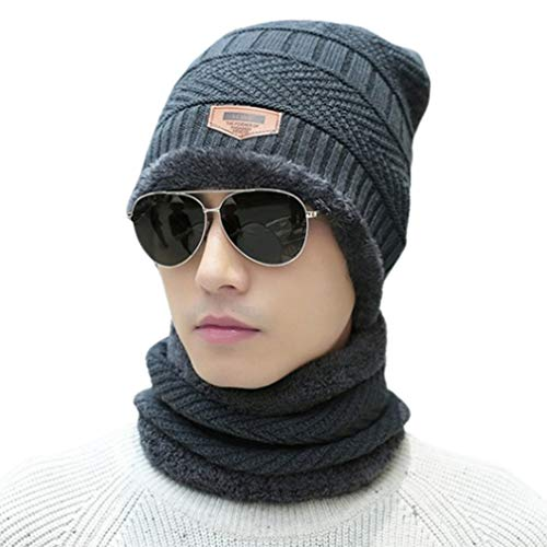 Bufanda a prueba de viento Sombrero de invierno Sombrero de lana Gorro con capucha Bufanda Earflap Knit Cap (gris)
