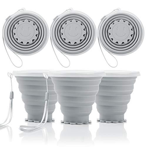 Tompig Faltbarer Reisebecher mit Deckel, 3 Stück Faltbare Tasse Silikon, BPA frei einziehbar zum Wandern Camping Picknick (Grau)