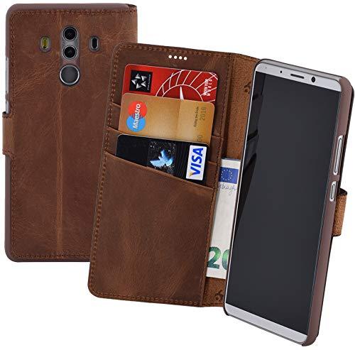 Suncase Book-Style (Slim-Fit) für Huawei Mate 10 PRO Ledertasche Leder Tasche Handytasche Schutzhülle Hülle Hülle (mit Standfunktion & Kartenfach) antik Coffee