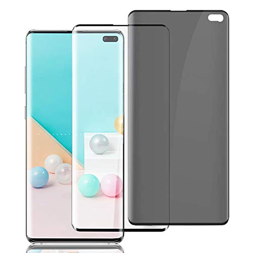 """(2 Pack HD+Privacy) Galaxy S10 Plus Screen Protector [3D Touch] [No Bubbles] [Support Fingerprint] Full Coverage Tempered Glass Screen Protector for Samsung Galaxy S10 Plus / S10+ 5G(6.4"""")"""