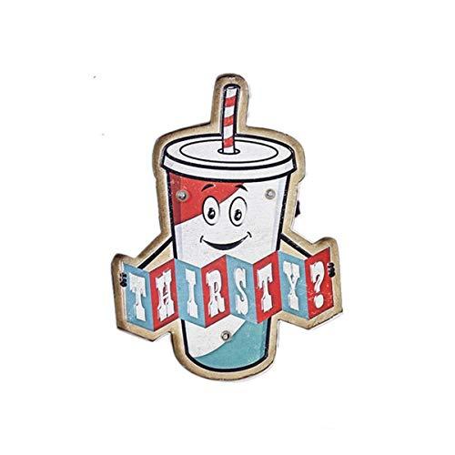 YXDEW Kreative Wasser Tasse Form Retro Schmiedeeisen Wanddekoration LED Licht Bar Cafe Dekoration Liefert Wand Anhänger LED Vintage Zeichen Mit Deckel (Color : Multicolored, Size : 27x5x35.5cm)