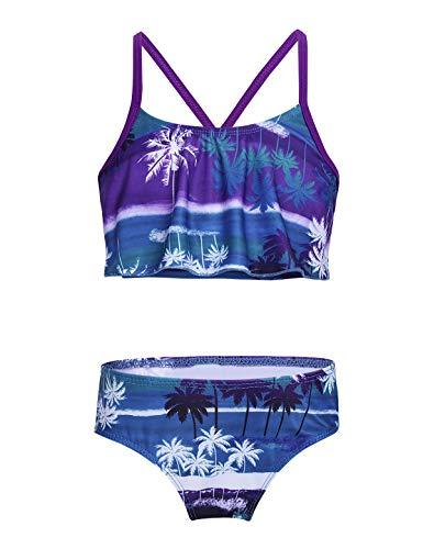 ranrann Mädchen Badeanzug Tankini Bikini Set Badekleidung mit Tropischen Palm Muster Kinder Schwimmanzug Sommer Urlaub Strand Lila 98-104/3-4 Jahre