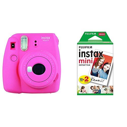 Fujifilm Instax Mini 9 Flamingo Fotocamera Istantanea, 62 x 46 mm, Rosa + 2 x Instax Mini Film Pellicola Istantanea per Fotocamere Instax Mini, Formato 46x62 mm, Confezione da 20 Foto