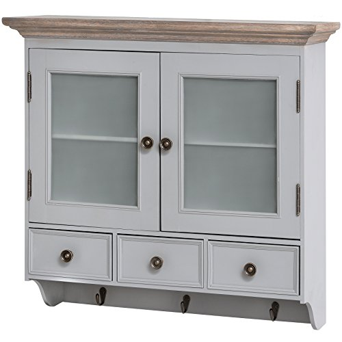 Hill Interiors - Churchill Collection - Pensile in legno con ante in vetro opaco (Taglia unica) (Grigio/Marrone)