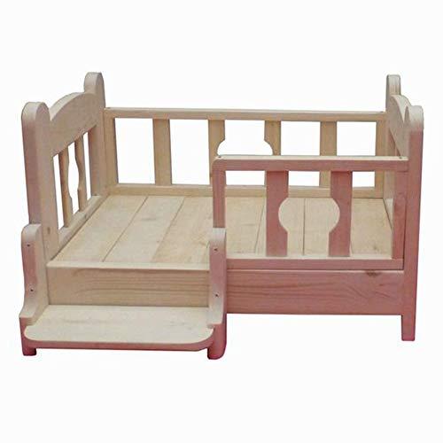 Hundebett Holz mit Treppe, für Teddy Pet Nest Golden Retriever, Massivholzrahmen Size : S(L53×W38×H43cm)