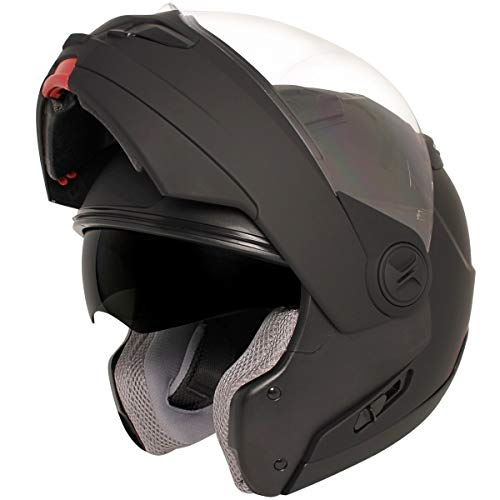 Hawk ST 1198 'Transition' 2 in 1 Flat Black Modular Motorcycle Helmet - Large