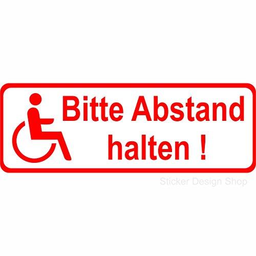 Abstand Halten Rollstuhlfahrer Behinderten Auto Aufkleber Vinyl Stickers 15 cm