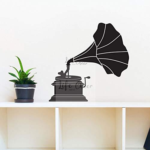 AGjDF Grammophon Wandaufkleber Klassisches Design Wohnkultur Plattenspieler Vinyl Wandaufkleber Große Erfindung Musikmaschine Wandbild -42x43cm