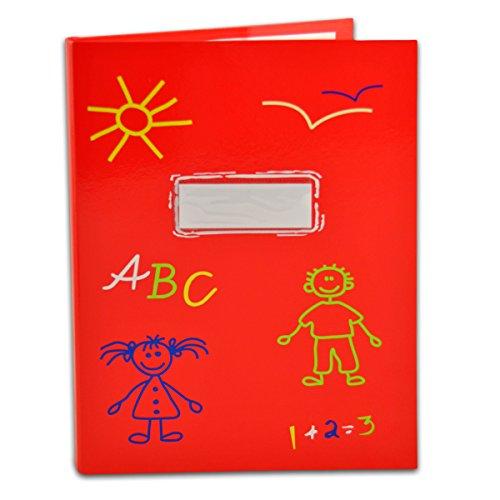 SHACAMO Zeugnismappe ABC für Kinder A4 mit 20 Hüllen (rot)