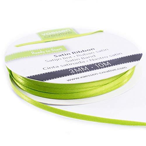 Vaessen Creative 301002-0018 Satinband Apfelgrün, 3 mm x 10 Meter, Schleifenband, Dekoband, Geschenkband und Stoffband für Hochzeit, Taufe und Geburtstagsgeschenke, 3MM