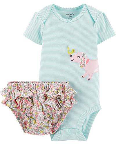 Carter's Baby Girl's 2 Pc Dog Bird Bodysuit Diaper Cover Set (6 M)