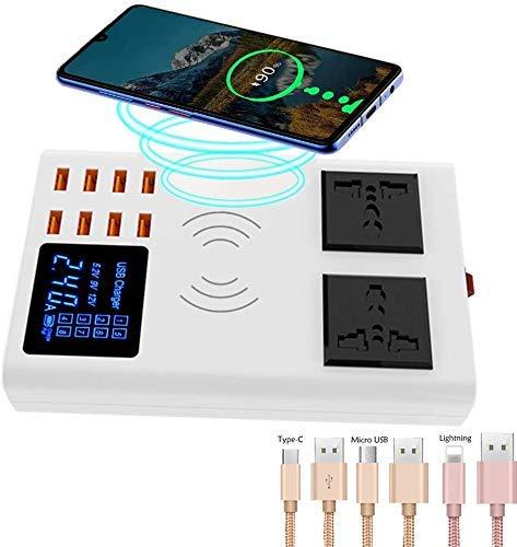 XYSQWZ Estación De Carga Rápida Base para Múltiples Teléfonos 3 En 1 Almohadilla De Carga Inalámbrica Qi Regletas De Enchufes con Tomacorrientes De 2 Vías para Samsung/iPhone/iPad Y Otros