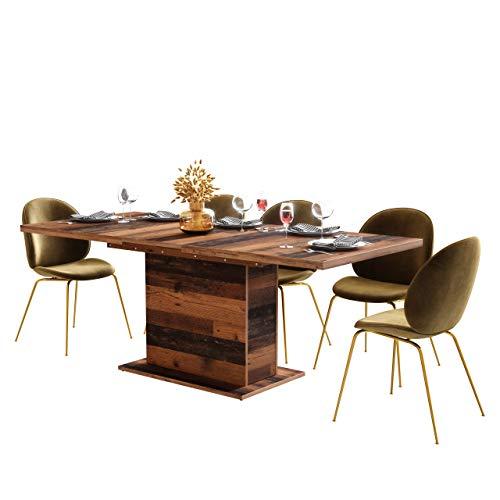 Newfurn Esstisch ausziehbar 160-200 cm inkl. Tischplatte Old Wood Esszimmertisch Vintage Indurstrial - 160x76,6x90 cm (BxHxT) - Tisch Küchentisch Speisetisch - [Kane.six] Esszimmer
