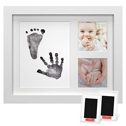 Onewall Baby Bilderrahmen, Fotorahmen Baby Neugeborenen Handabdruck Fußabdruck Fotorahmen Set mit Sicherer Berührung Stempelkissen für personalisierte Babygeschenke Weiß