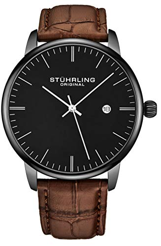 Stuhrling Original Mens Watch Calfskin Leather Strap - Dress + Casual Design - Analog Watch Dial with Date, 3997Z Watches for Men Collection (Black Brown)