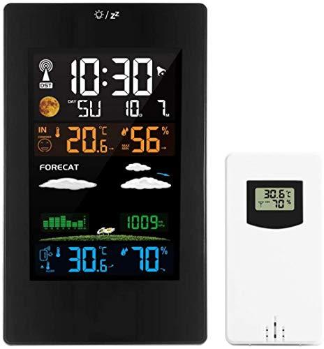 PKLFQQA Reloj Despertador Estación meteorológica con Sensor al Aire Libre, inalámbrico Digital Exquisito Dibujos Animados Lindo Despertador Junto a la Cama ba