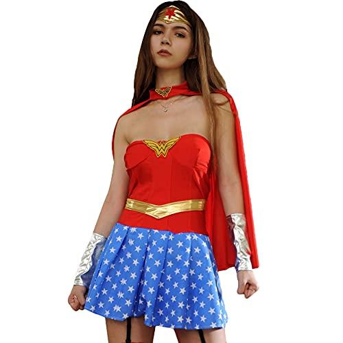 JasmyGirls Disfraz de superhéroe sexy para mujer, disfraz de Halloween y chica maravilla, corsé, cómics, juego de rol, lencería, rosso, 95B/C