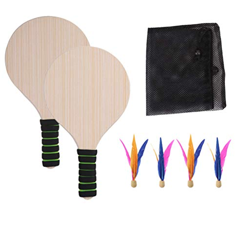 CLISPEED Juego de Padel de Playa Juego de Pelota de Bádminton de Madera Juego de Deportes Raquetas Volantes de Bádminton para Niños Adultos (Color de Mango Aleatorio)