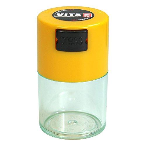 Vitavac Aufbewahrungsbehälter für trockene Lebensmittel, Kräuter, 5 g bis 20 g, luftdicht, mit gelber Kappe und transparentem Körper