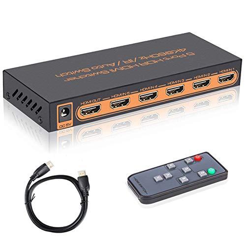 Switch HDMI 4k, 5 Entrée vers 1 Sorties Commutateur HDMI avec Télécommande IR Support 4K 60hz, 2K, 1080P, 3D, HDCP 2.2, UHD, HDR pour PS 3/4, XBOX One/360, Lecteur DVD, HDTV, Écran Projecteur