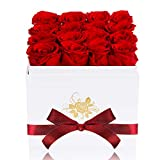 Perfectione Roses Luxury Preserved Roses in a Box, Red Real Roses Romantic Gifts for Her Mom Wife Girlfriend Anniversary Mother's Day Valentine's Day Christmas(White Large Square Box)