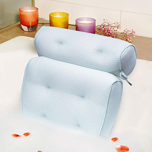 Bath Pillow Organic Tencel Bathtub Pillow - Upgraded 3D Air Mesh Bath Pillow with Head, Neck, Back and Shoulder - Ultra Soft and Quick Dry Spa Pillow for Bathtub