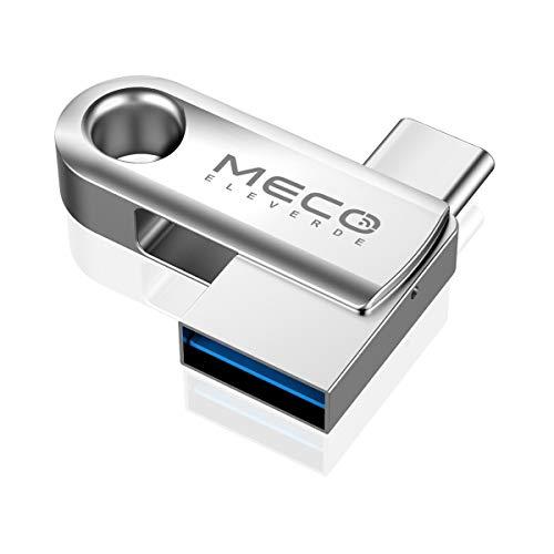 USB Stick 32GB, MECO ELEVERDE USB C Stick 2-in-1 USB 3.0 Stick OTG Speicherstick wasserdichte Flash Drive Memory Stick mit Schlüsselanhänger für PC/Laptop/Notebook/Typ-C-Handy, usw