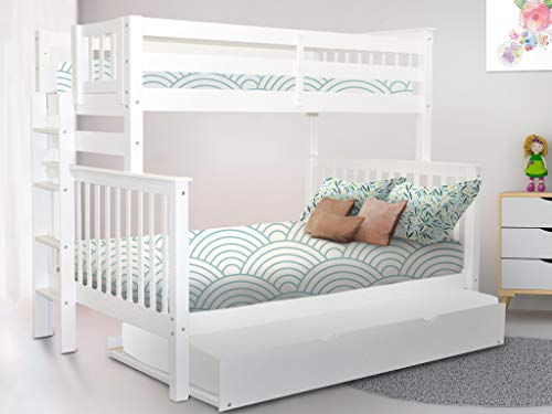 Bedz King Bunk Beds Twin over Full Mission Style with End Ladder and a Twin Trundle, White