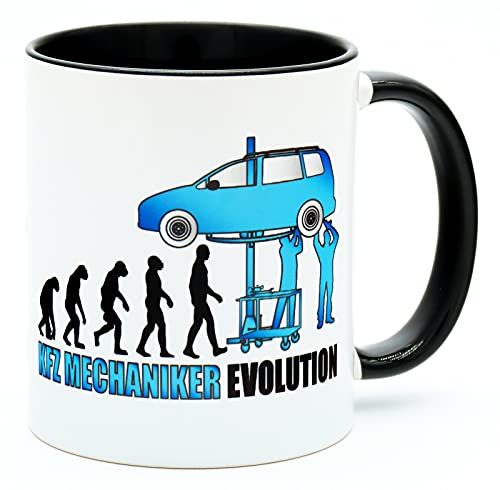 Kfz Mechaniker Evolution Tasse Becher Kaffeetasse Schrauber Geschenk Autoliebhaber Geburtstag Geschenkidee Mechatroniker Werkstatt Zubehör Pkw Spruch Mann Auto Liebhaber Automechaniker Meister Prüfung