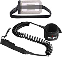 Unigear Surf Leash 10' Coiled Stand Up Paddle Board Surfboard Leash Stay on Board with Waterproof Phone Case/Wallet