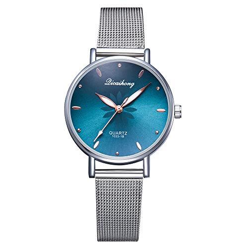 Powzz - Reloj de pulsera para mujer, diseño de malla europea y americana, cuarzo, color verde