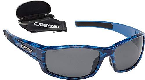 Cressi Hunter Sunglasses Gafas de Sol Deportivo Unisex Adulto, Azul Camuflaje/Lentes Ahumadas, Talla única