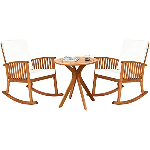 Tangkula 3 Piece Wood Patio Rocking Chair Set, Outdoor Acacia Wood Rocker Set with Round Table, with Thick Cushion of Detachable Cover, Suitable for Poolside, Indoor, Patio Backyard and Garden