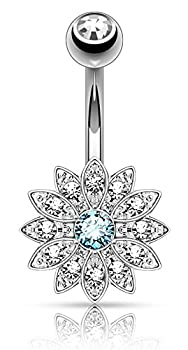 Forbidden Body Jewelry Surgical Steel Crystal Paved Petite Flower Belly Ring with Aqua Crystal Center