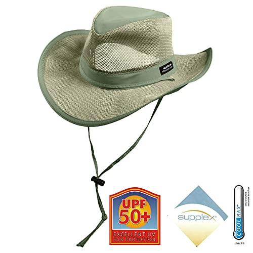 Panama Jack Hombres de Malla Gorro de Safari - Verde -