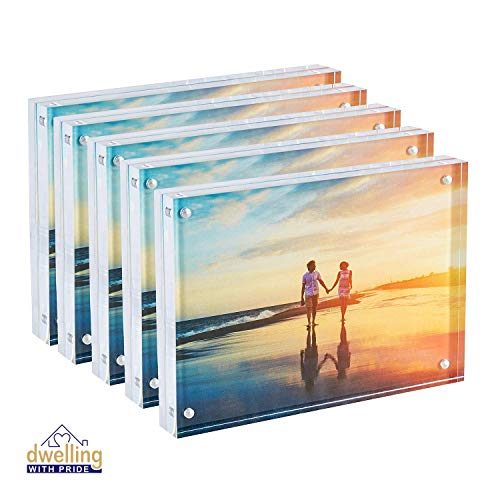 Dwelling With Pride Acrylic Picture Frame Set of 5 - Acrylic Photo Frame - Collage Stand for Family Photographs - Clear Picture Frames for Office Desk & Side Table - Wedding Table Décor - 5x7 Inch
