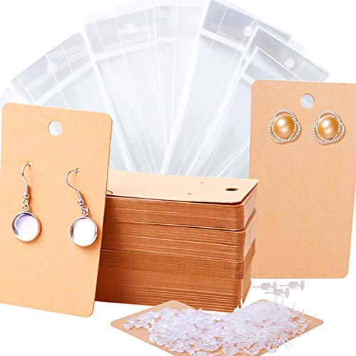 MotBach 120pcs Earring Cards,Earring Display Card,Holder Cards,Necklace Display Cards,Kraft Paper Tags with 120pcs Bags,120 Pair Plastic Earring Posts and Backs,3.5 x 2.4 inches(Brown)