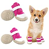KOESON Mesh Dog Boots, Breathable Dog Shoes with Rubber Non-Slip Outsole for Outdoor Activity, Pet Booties Small Medium Dogs Paw Protection for Summer Pavement Heat Pink 40